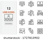 set of online meeting icons ... | Shutterstock .eps vector #1727813902