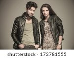 modern couple in leather...   Shutterstock . vector #172781555