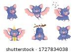 funny purple bat character in... | Shutterstock .eps vector #1727834038