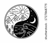 Yin Yang Monoline Outdoor Badge ...
