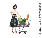 Cartoon Female With Shopping...
