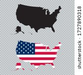 Usa Solid Black Detailed Map...