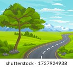 road to the mountain. scenic... | Shutterstock .eps vector #1727924938