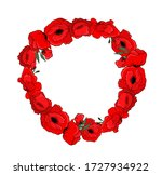 A Wreath Of Red Poppies. Vector ...