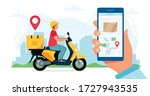 scooter delivery service... | Shutterstock .eps vector #1727943535