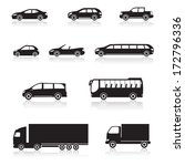 icons car: cabriolet, bus, minivan, limousine with reflection, on white background - stock vector