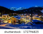 Illuminated Ski Resort Of...