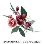 floral branch. flower burgundy... | Shutterstock .eps vector #1727992828