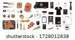 variety of food in the butcher... | Shutterstock .eps vector #1728012838