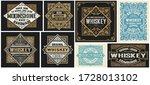 set of 8 vintage labels. vector ... | Shutterstock .eps vector #1728013102