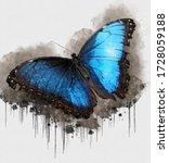 Blue Black Butterfly. Digital...
