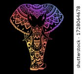 elephant made a floral pattern... | Shutterstock .eps vector #1728064678