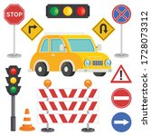 traffic concept with lights and ... | Shutterstock .eps vector #1728073312