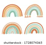 collection of boho rainbows in... | Shutterstock .eps vector #1728074365