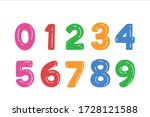 kids colored cartoon number set.... | Shutterstock .eps vector #1728121588