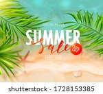summer sale card with sea wave  ... | Shutterstock .eps vector #1728153385