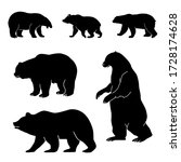 silhouette black bear set on a...   Shutterstock . vector #1728174628