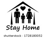 stay home  stay safe. self... | Shutterstock .eps vector #1728180052