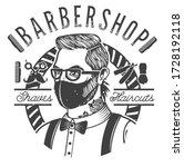 barbershop label with a barber... | Shutterstock .eps vector #1728192118