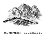 mountain with pine trees and... | Shutterstock .eps vector #1728261112