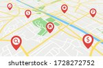 street map with gps icons.... | Shutterstock .eps vector #1728272752