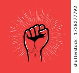 raised hand with clenched fist. ...   Shutterstock .eps vector #1728277792