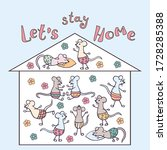 stay at home. hand drawn family ... | Shutterstock .eps vector #1728285388