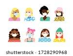 set of stylish girls wearing... | Shutterstock .eps vector #1728290968