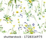 herbal summer flowers seamless...   Shutterstock . vector #1728316975