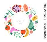 vegetables frame template ... | Shutterstock .eps vector #1728355402