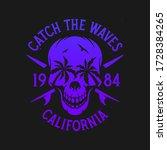 california surfing skull palms... | Shutterstock .eps vector #1728384265