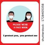 wear face mask sign for...   Shutterstock .eps vector #1728405358
