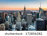 Stock photo new york skyline at sunset 172856282