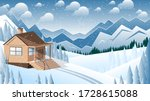 snowfall and a cute house... | Shutterstock .eps vector #1728615088