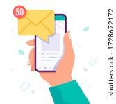 hand holding smart phone....   Shutterstock .eps vector #1728672172