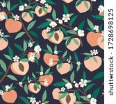 Peach Seamless Pattern With...
