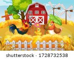 farm theme background with farm ... | Shutterstock .eps vector #1728732538