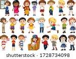 large set of children doing... | Shutterstock .eps vector #1728734098