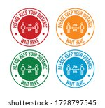 please keep your distance ... | Shutterstock .eps vector #1728797545