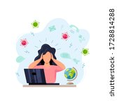 female person gets too much... | Shutterstock .eps vector #1728814288