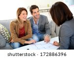 couple meeting architect for... | Shutterstock . vector #172886396