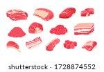 meat fresh steaks cartoon set.... | Shutterstock .eps vector #1728874552