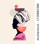 abstract black woman profile in ... | Shutterstock .eps vector #1728885388