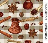 cezves  wooden spoon  coffee... | Shutterstock .eps vector #1728892048