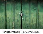 Old Rusty Metal Green Door...