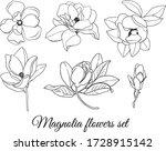 Set Of Outline Magnolias...