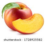 Fresh Peach Leaf Isolated On...