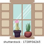 two cacti on the window with... | Shutterstock .eps vector #1728936265