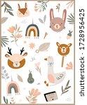 cute baby card in scandinavian... | Shutterstock .eps vector #1728956425