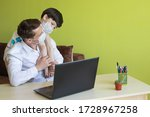 father working from home with... | Shutterstock . vector #1728967258